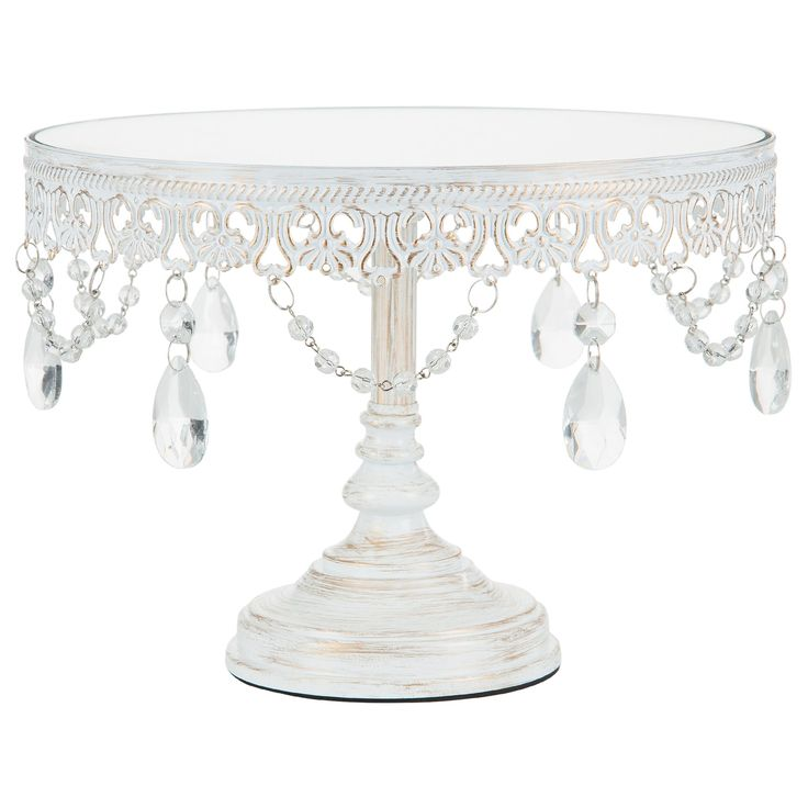 High Quality 10 Inch Vintage Round Mirror Top Crystal Cake Stand (Whitewashed) Home Design Ideas