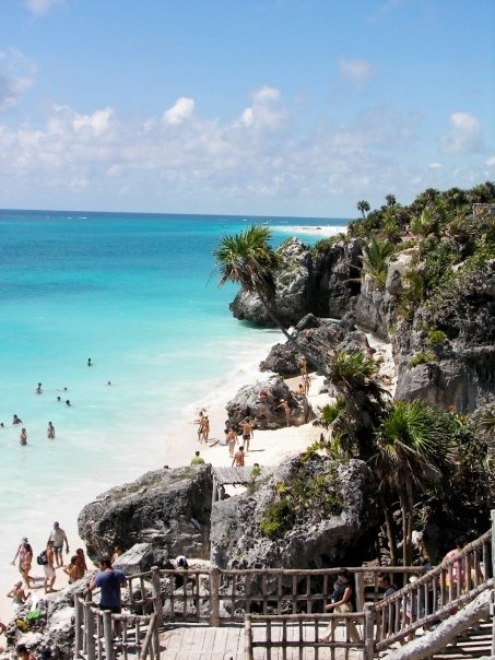 Riviera Maya, Mexico (The King's Beach, Tulum)--  When we went to Tulum, I didn't realize you could access the beaches right through the ruins (pregnant brain?), so I didn't bring my swimsuit.  Though, that didn't stop me and E from wading into the water :)