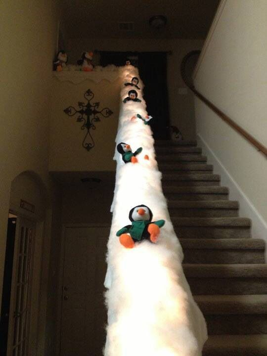 Penguin slide- cute idea if you have little ones and a banister!  You could put lights under the fiberfill too.