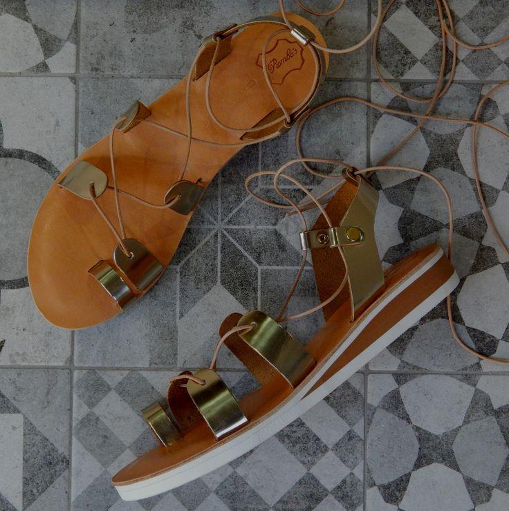 Handmade leather sandal ELECTRA ..... golden ....