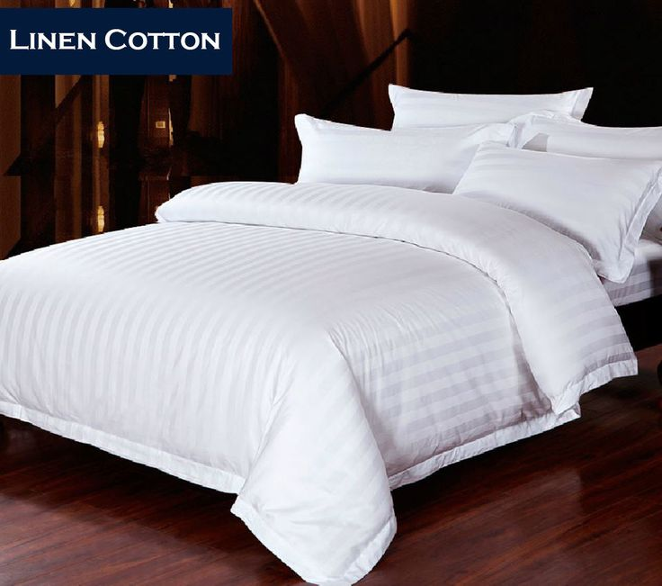 New 600TC Cotton White Stripes - Quilt/Doona Cover Set (A) - Queen/King/Super