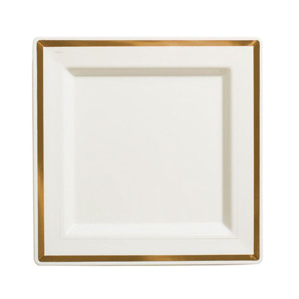 Imperial 10 Inch Ivory Plastic Square Plate with Gold Band/Case of 120  sc 1 st  Pinterest & 12 best Imperial Plastic Wedding Dinnerware images on Pinterest ...