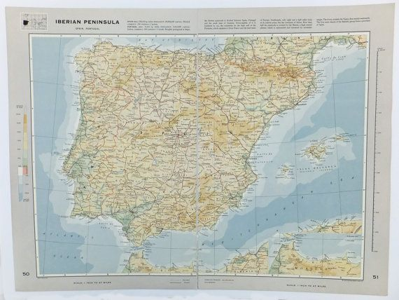Map of Spain, Map of Portugal, Large Vintage Map of Iberian Peninsula, travel souvenir, Spanish Map, Portuguese Map £12.50