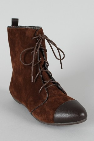 Bamboo Zoria-56 Almond Toe Lace Up Ankle Bootie $27