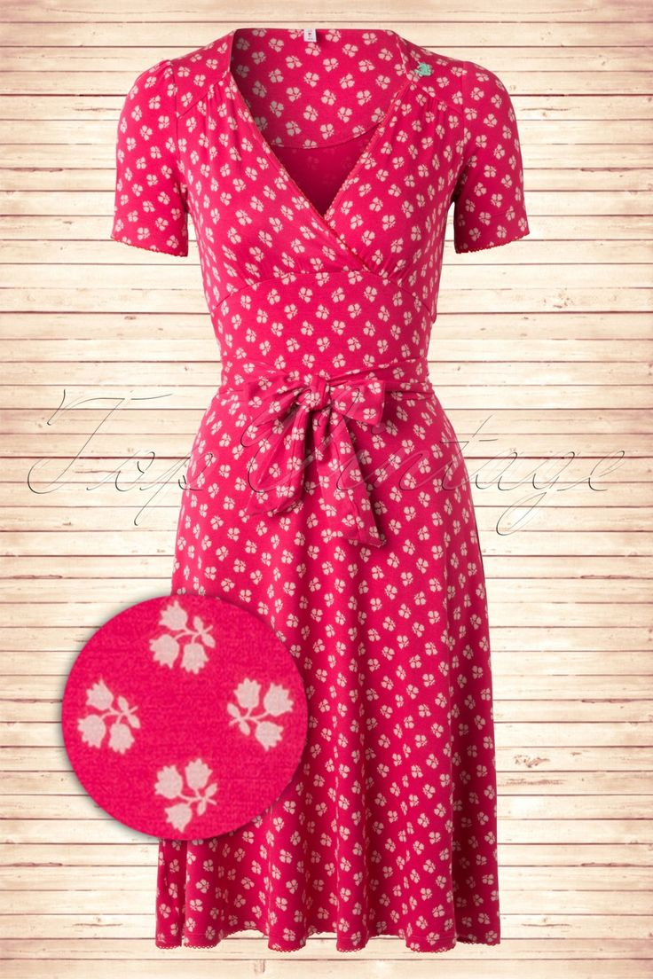 40s Glazy Glade Tulips Dress in Pink