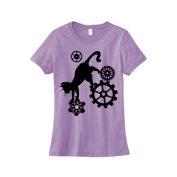 Steampunk Cat Ladies T-shirt (6.275 HUF) ❤ liked on Polyvore featuring tops, t-shirts, cat print t shirt, cat print top, purple top, fitted tops and fitted t shirts