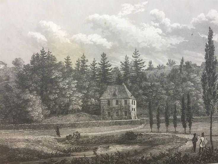 Annons på Tradera: Göthes hus Weimar Antik Etsning Topografisk Plansch 1840 Das kleine Universum