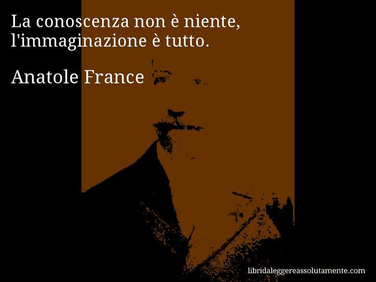 Aforisma di Anatole France : La conoscenza non è niente, l'immaginazione è tutto.