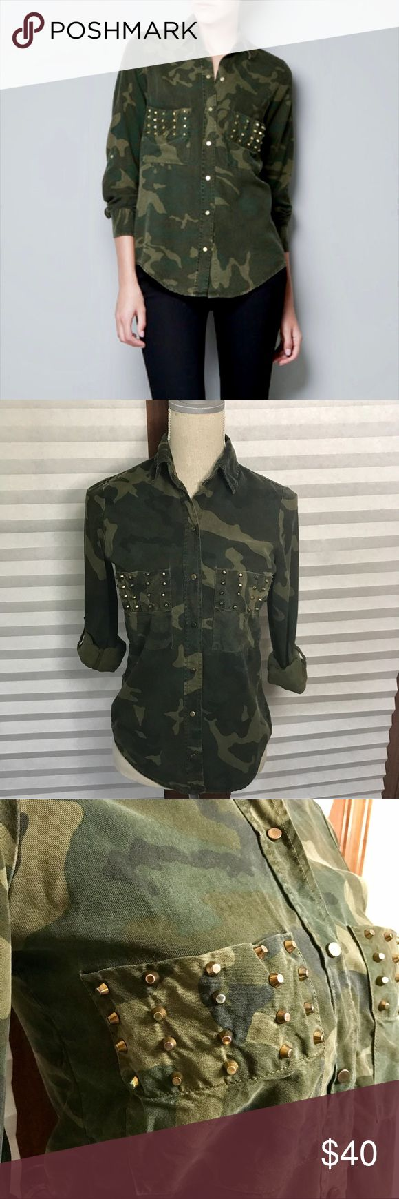 Zara Woman Camo Top with Studs Zara Woman Camo Top with Studs Super soft material Snap closures One stud missing from the bottom of the left pocket but not noticeable Zara Tops Button Down Shirts