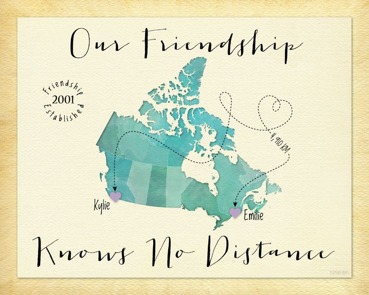 Long Distance Gift for Friend, Going Away Gift Print for Friends, Friendship Knows No Distance Canvas, Canada Map art by KeepsakeMaps on Etsy