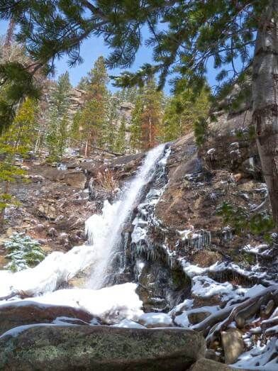 Bridal Veil Falls Trail at the end of the Cow Creek Trail in Rocky Mountain National Park strolls along old McGraw Ranch roads and former riding trails