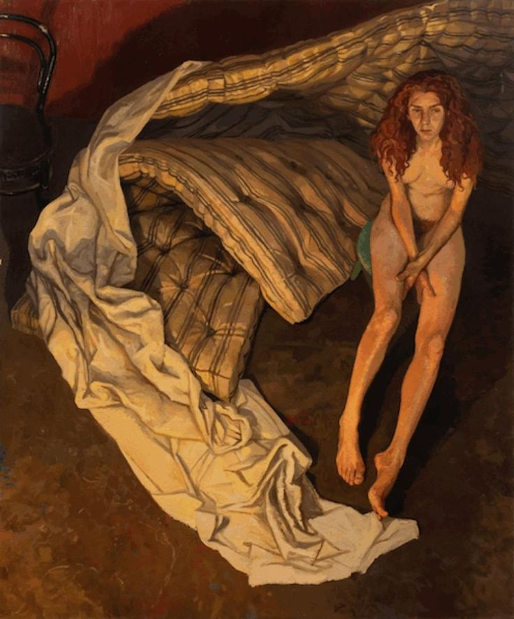"Michael Corkrey (1962, English) Naked Portrait Oil on Canvas Size: 72""x 60"" 1997"