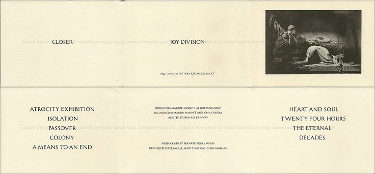 Joy Division - Closer (boxed cassette inlay)