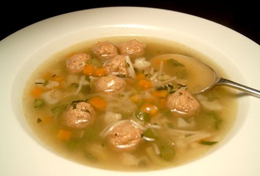 Dutch vegetable soup with meatballs. This is very good. A soup my mother-in-law made. There is also a homemade tomato soup with tiny meatballs that is delicious. We make it often in the summer with garden tomatoes.