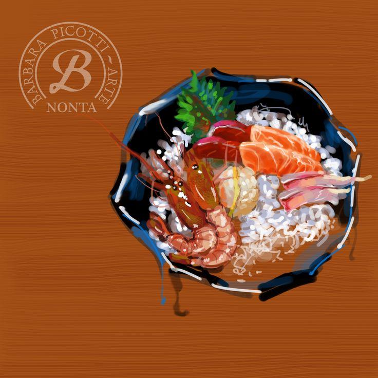 """Barbara Picotti Arte: Digital illustration - """"Sashimi"""" (esercitazione dall'originale di Zhuzhu)"""