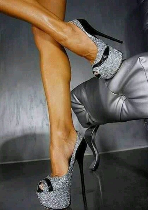 Silver glitter with black heels.