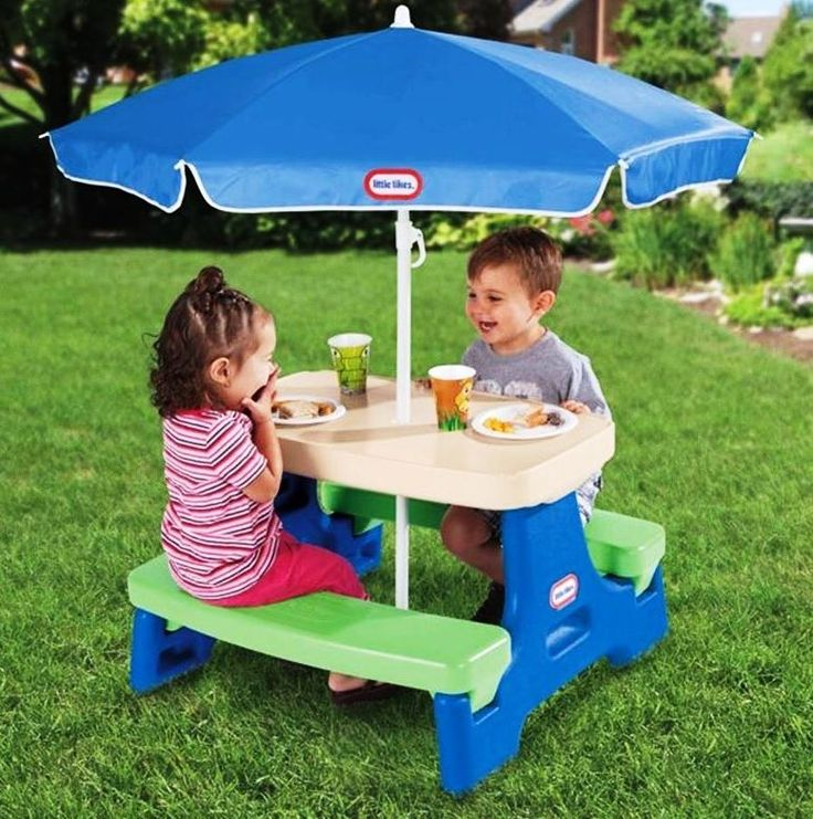Lovely Kids Play Picnic Table Umbrella Outdoor Indoor Portable Children Toddler  Toy Fun Part 19