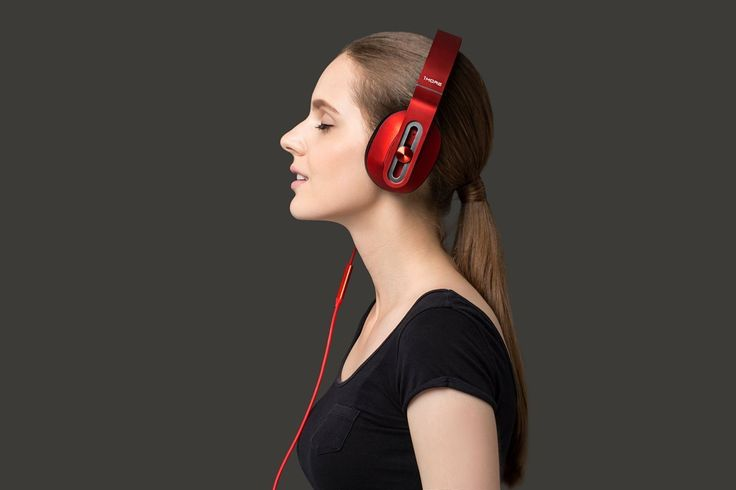 1MORE MK801 Over-Ear Headphones with In-line Microphone and Remote (Red)-side-girl with headphone