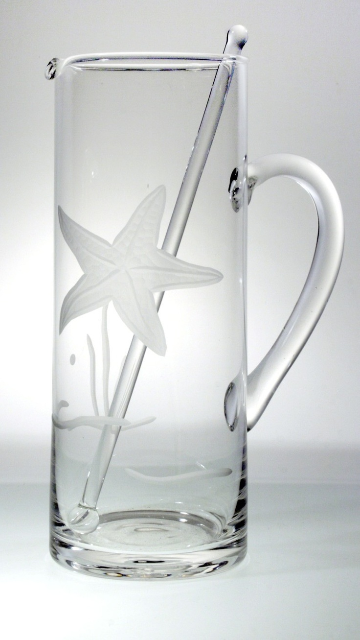 Our seaside glam 35 oz.Cocktail and Martini Pitcher for our starfish etched glassware collection!