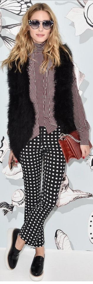 Who made Olivia Palermo's red dot print top, cat blue...