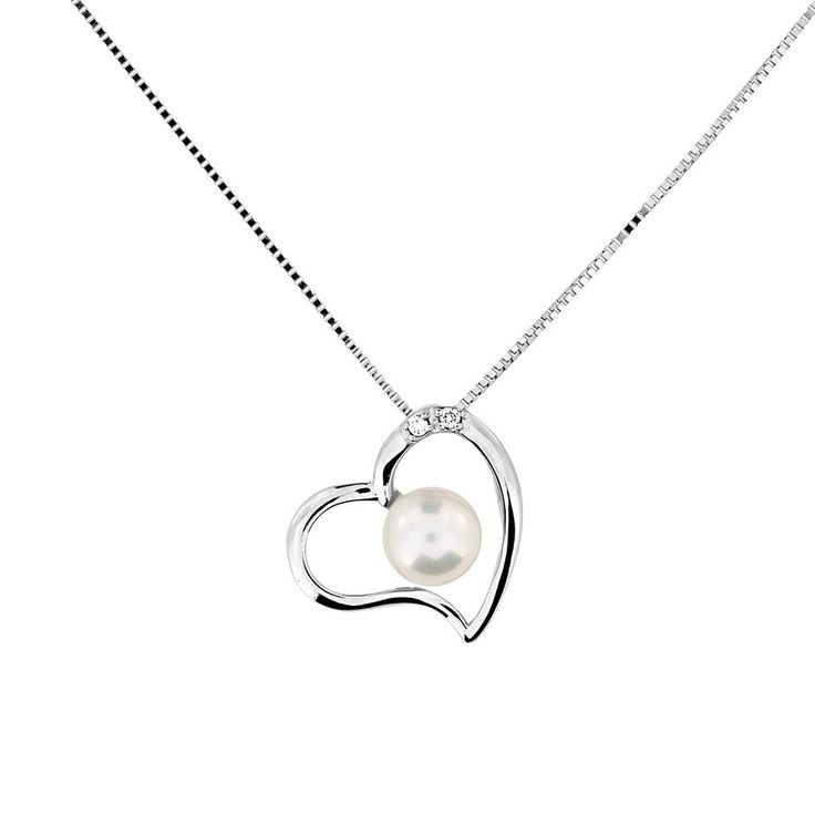 White Gold, Pearl & Diamond Open Heart Pendant #Silver #Pearl #Bride #BridalJewellery #PearlNecklace #WeddingJewellery