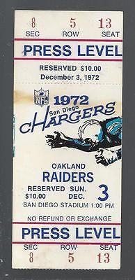 1972 NFL OAKLAND RAIDERS @ SAN DIEGO CHARGERS FULL UNUSED FOOTBALL TICKET