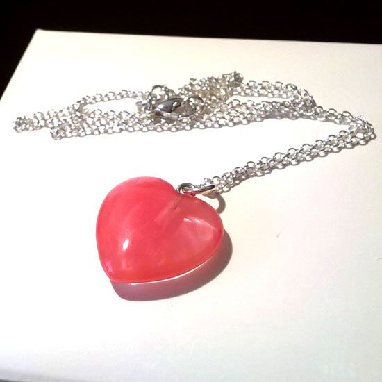 PENDANT HEART STRAWBERRY QUARTZ SILVER with Strawberry Quartz of Heart Shape 20mm and Silver 925 Chain | Crystal Pepper