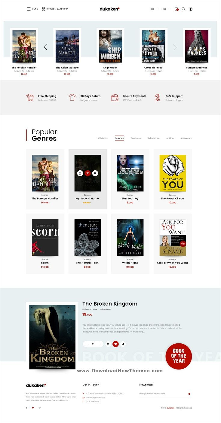 Dukaken Is A Clean And Modern Design Responsive Multipurpose Magento Template For Stunning Online Book Stor Magazine Web Design Web Design Web Design Books