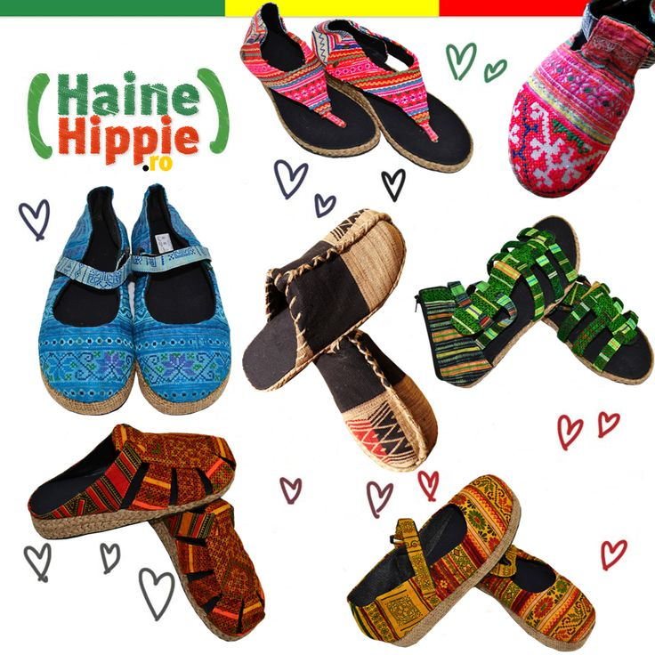 ॐ Pantofi, saboţi, sandale...modele unicat, culori vii, broderii manuale. www.hainehippie.ro/58-incaltari