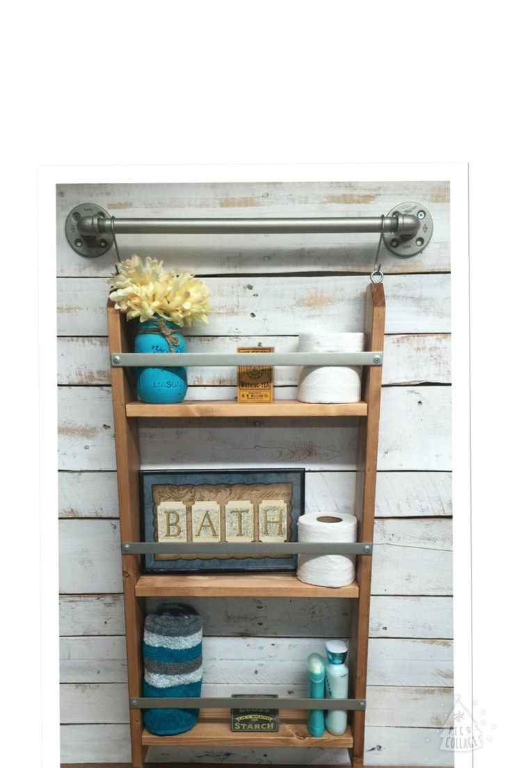 Bathroom Ladder Shelf, Rustic Bathroom Shelf, Ladder Storage, Ladder  Shelving Unit, Wood