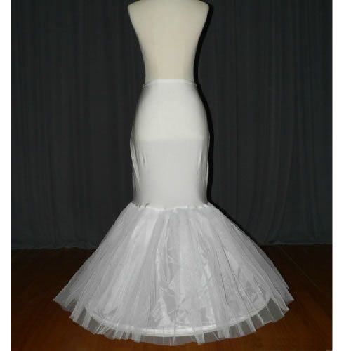 White Tulle Mermaid Wedding Bridal Dress Petticoats Skirt Slips SKU-141007