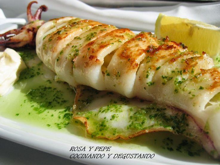 CALAMAR DE PLAYA A LA PLANCHA CON SALSA MERI          Ingredientes para cuatro personas Cuatro calamares frescos de ...