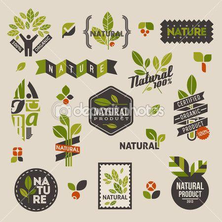 Étiquettes de la nature et des emblèmes avec feuilles vertes — Illustration…