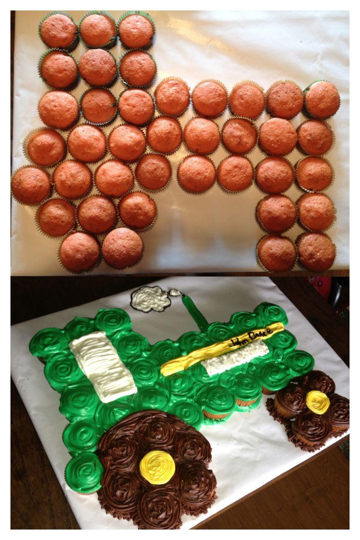 John Deere Tractor Cupcake Cake. I had fun making this one :). My kids loved it!!! So did my husband lol. MADE BY JESSIE ASBURY www.facebook.com/heavenlydaydreams