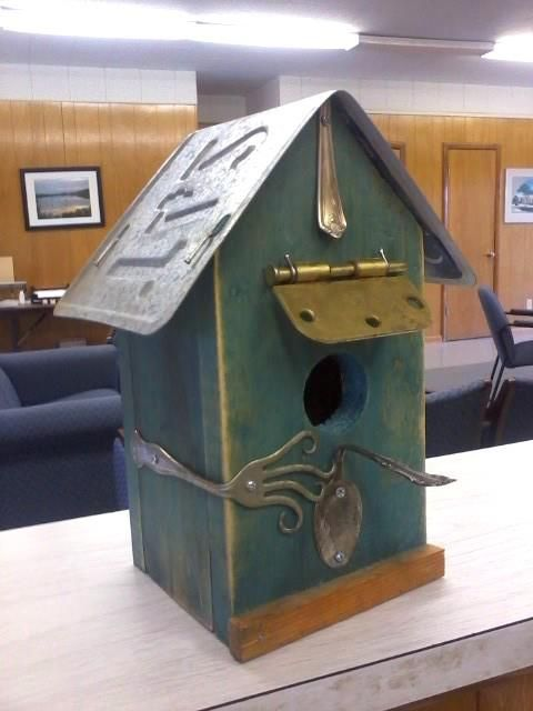 Mama's Got a Chainsaw: Funky junk bird house. Made for the Autism Speaks auction fundraiser hosted by our local college SGA.
