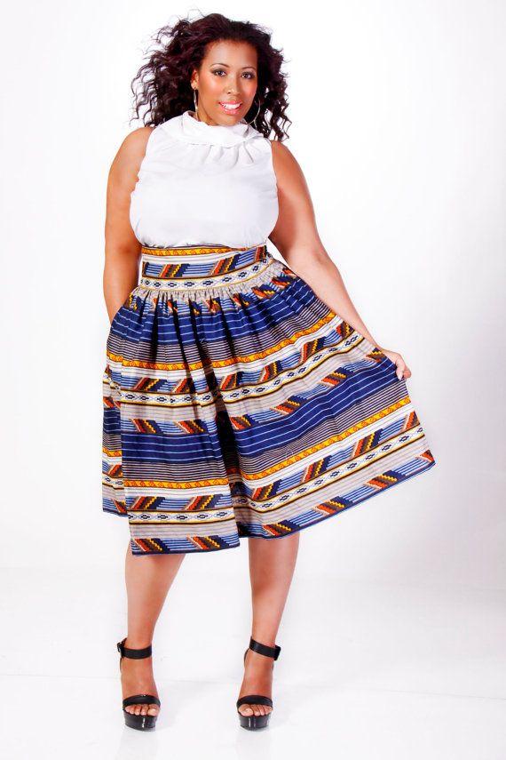 Jibri Plus Size High Waist Flare Skirt Pyramids