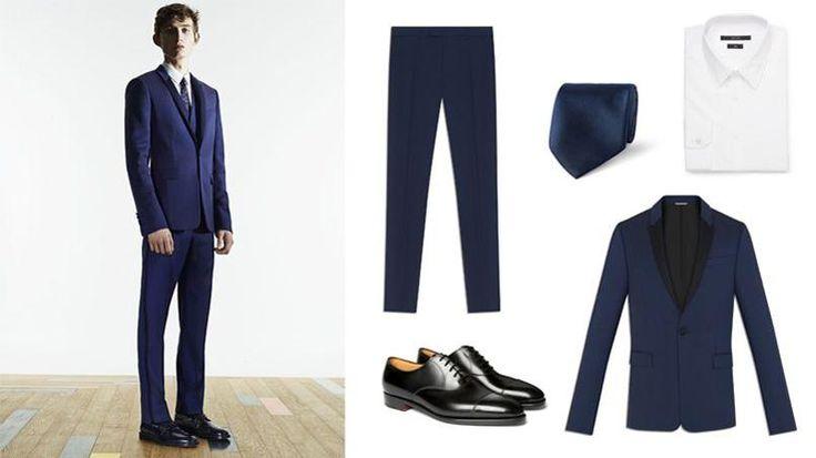 Le smoking. De gauche à droite : silhouette Dior Homme, pantalon Dior Homme (510€), cravate Gucci (140€), chemise Gucci (275€), souliers John…