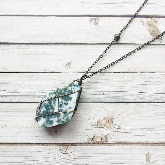 Tree Agate Necklace  Wire Wrapped Tree Agate  Wire Wrapped