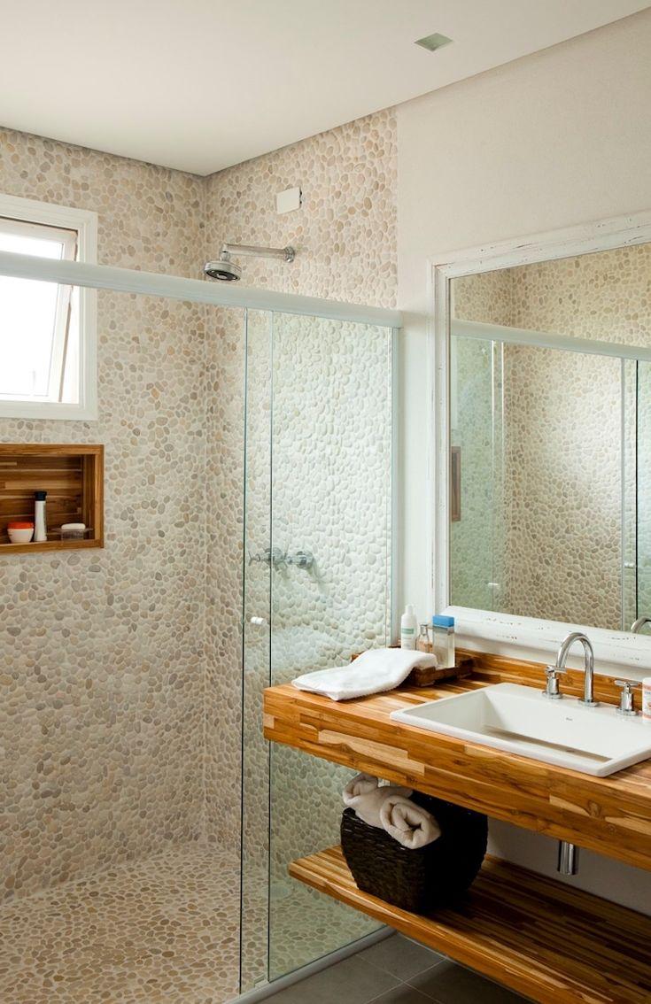 revestimento banheiro travertino revestimento  Pesquisa Google  Banheiros p -> Nicho Banheiro Box