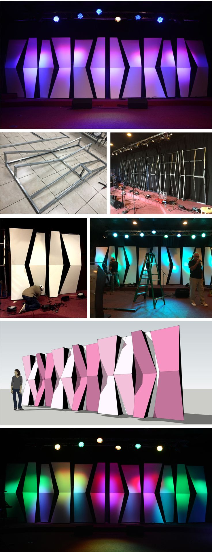 Stage Design| How to achieve big effects with small space & budget. Church Stage Design from Casa de Adoración Jabes in Bayamón, PR. Made from Coroplast.