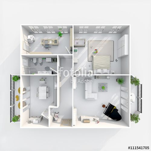 #3d #interior #rendering #plan #view of #furnished #home #apartment with #two #balconies: room, bathroom, bedroom, kitchen, living-room, hall, entrance, door, window