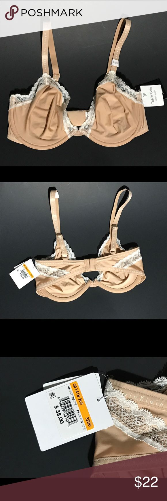 "Calvin Klein 32DD signature unlined t-shirt bra New Women's Calvin Klein 32DD Signature Naked Touch Unlined Underwire T-shirt Bra with lace trim. Size: 32DD Color: Beige, nude, flesh tone, tan UPC: 608279509479 Style No.: QF1418-265 Materials: 71"" Nylon & 29% Elastane  Condition: New with tags. Smoke free. Pet free.   Please let me know if you have any questions before purchasing this bra. Calvin Klein Underwear Intimates & Sleepwear Bras"