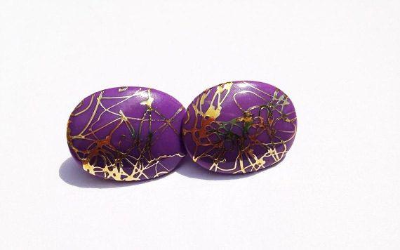 Vintage Purple and gold Earrings // Vintage by vintagevennu