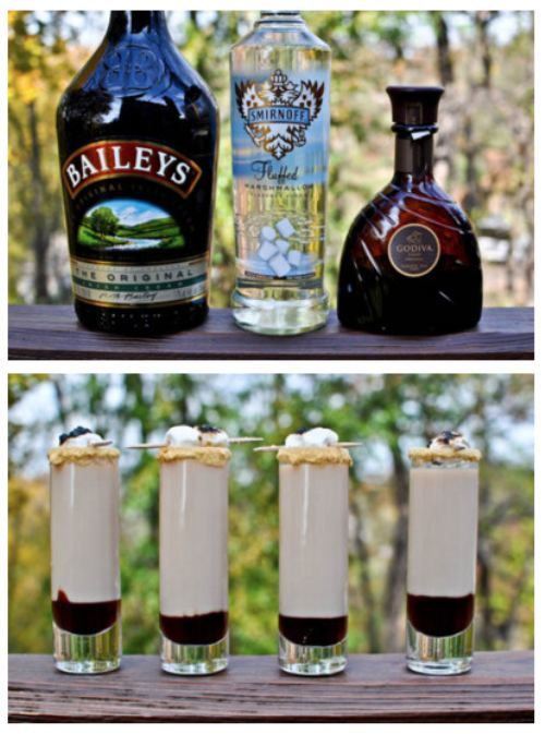 Great for sitting around a campfire. S'moretini Shooters Recipe: 1/2 oz. marshmallow vodka (or vanilla, whipped cream or cake flavored vodka), 1/2 oz. Godiva chocolate liqueur, 1/4 oz. Bailey's Irish Cream liqueur, 3/4 oz. cream/half and half, chocolate syrup or hot fudge, graham cracker crumbs, vanilla frosting for glass rimming, mini marshmallows.