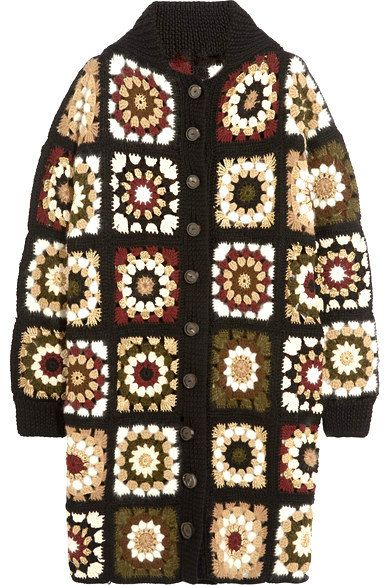 Hand Crochet Afghan Cardigan Long Cardigan Long Jacket Granny Square Jacket Knitwear Women Fashion Clothing MADE to ORDER