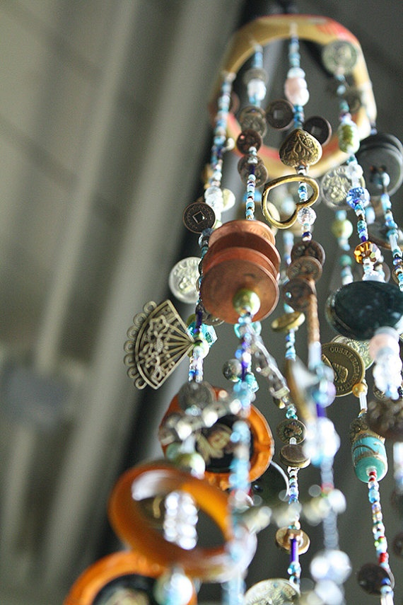 Wind Chime  Beaded  An Ancient Castle Rises by AvasYellowRainBoots, $85.00