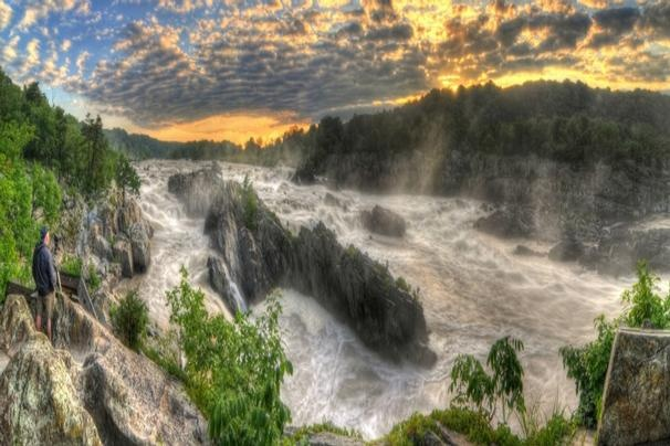 Great Falls, MD/VA after the storm    Photographer Brandon Kopp captured the power of Great Falls the morning of June 2, 2012. The picture is composed of 6 sets of bracketed images merged to HDR in Photomatix Pro and combined into a Panorama.