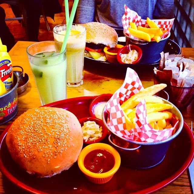 burger, french fries and lemonade