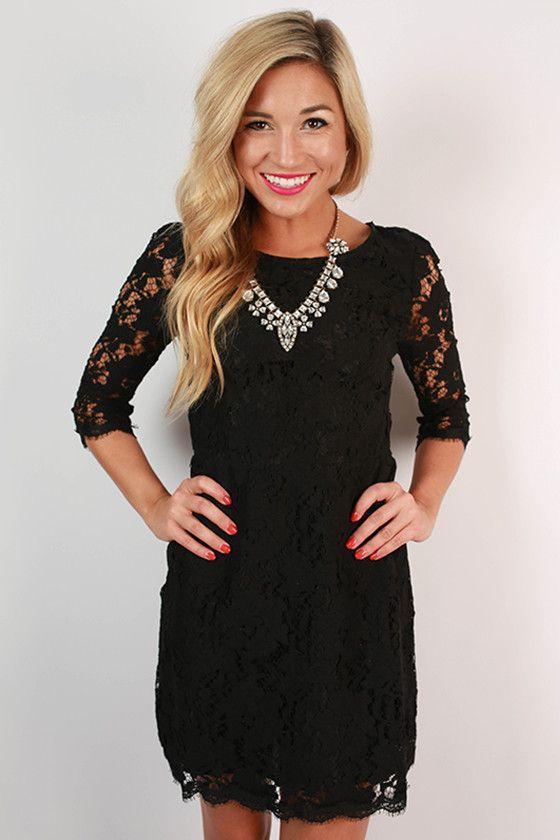 Paris Delight Open Back Lace Dress in Black