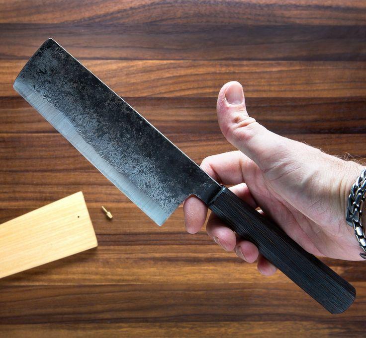 Burnt Oak Nakiri 153mm chef knife handmade by Bryan Raquin.